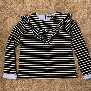 Evereve English Factory Striped Ruffle Top